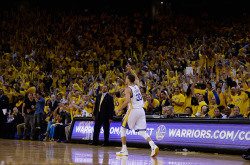 nba:  Stephen Curry of the Golden State Warriors runs back down court after he made a three point basket during their game against the Denver Nuggets during Game Three of the Western Conference Quarterfinals of the 2013 NBA Playoffs at ORACLE Arena on April 26, 2013 in Oakland, California. (Photo by Ezra Shaw/Getty Images)