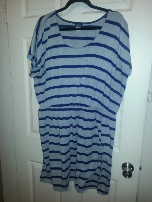 brazenboutique:  Dot's dress 3X gray with navy stripes, jersey material with a lot of stretch and room in the bust (could most likely fit a 4X).  Asking $15 (this includes shipping)  Hey kids, I'm selling some of my gently used clothing that I just haven't worn in a while so check it out.  As far as this dress is concerned I'm bummed to let it go but I don't have the 'girls' to pull it off.