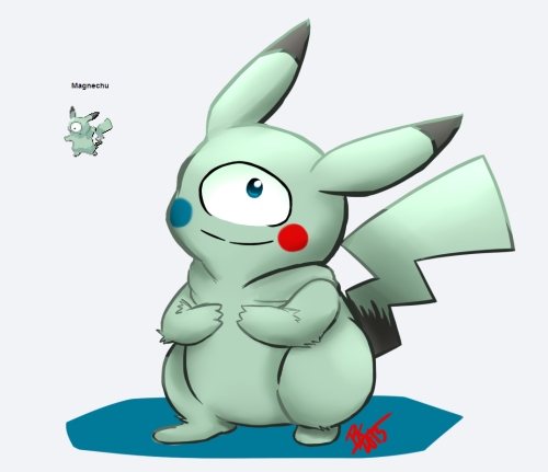kokeshidork:  i did another pokemon fusion!! aahh magnechu is really cute too