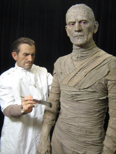 arcaneimages:  Jack Pierce & Boris Karloff sculpted by the amazing Mike Hill.