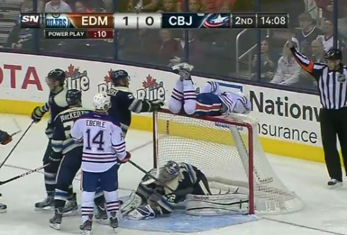 in which Taylor Hall goes Landeskoging on top of the net