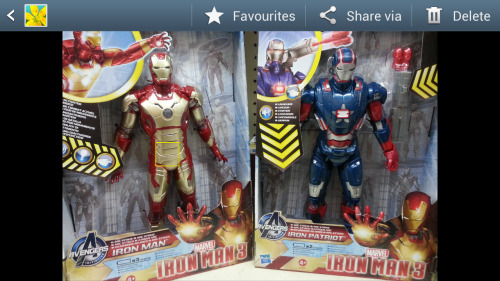 deepermadness:  New Iron Man 3 toys in Toys R Us already. Interesting designs. And well done to my face detection program for locating Tony's groin. /me clap clap clap  That had damn better be Harry Osborne in that Iron Patriot suit.