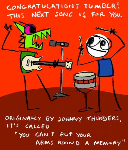explodingdog:  Crazy Monster sings a congratulatory song for tumblr.