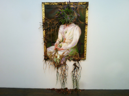 "mfjr:  Valerie Hegarty's ""Woman in White with Flowers"" (2012), from her terrific new show at Nicelle Beauchene Gallery, Figure, Flowers, Fruit (through October 21)."