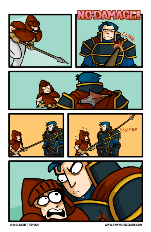 "bluedogeyes:  The Best Defense (via AWKWARD ZOMBIE) ""Playing Awakening made me kind of miss previous Fire Emblem games, where, rather than actually blocking a no-damage attack, recipients would just stand there and stoically take an axe to the face.  It was a simpler time."""