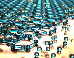 scienceisbeauty:  Bilayer graphene grown by depositing carbon atoms from methane gas. Source (UCSB College of Engineering)