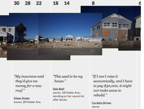 "FIELDER AVENUEThe people and houses in Ortley Beach, New Jersey suffered greatly from Sandy's onslaught. We're tracking the recovery and rebuilding on the ""beach block"" of Fielder Avenue, which ends at the ocean. Hear the story"