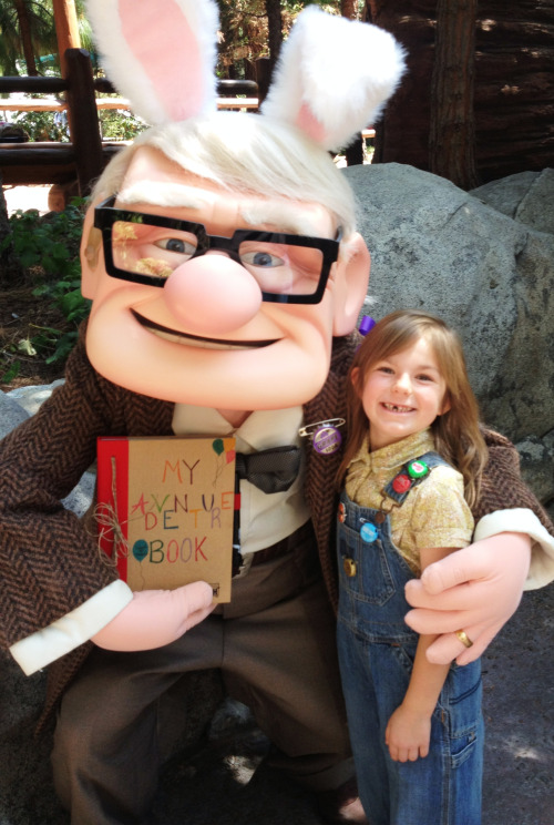 "Carl Fredricksen and Young Ellie (from Up)   Photographed by Peggy Cress (Disney Mommy)    ""I like to dress my children up as Disney characters to surprise the cast members at Disneyland. My children and I love to make them happy and add some ""Magic"" to their day as well. Carl Fredricksen and young Ellie after browsing through their adventure book."""