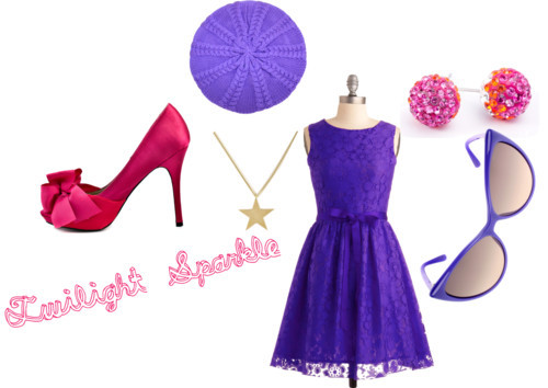 Twilight Sparkle by everydaydiscoveries featuring ted bakerViolet dress / Luichiny platform pumps / Star jewelry, $58 / Stud earrings / Tom Ford cat eye sunglasses, $340 / Ted Baker , $15