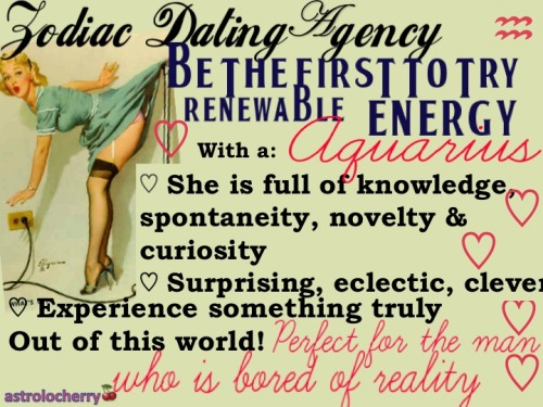 astrolocherry:  Zodiac Dating Agency Experience a real life electric blanket - with Aquarius