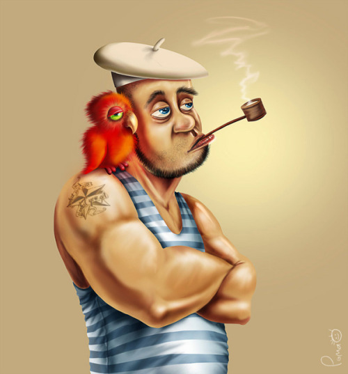 """ Sailor and His Parrot Buddy ""  …  Digital Art by:  Roman Tkachuk, Ukraine"