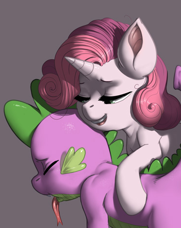 ponycuddles:  Oh look   In case anyone was wondering, I'm still torn between shipping Spike x Sweetie Bell or Spike x Apple Bloom. In the meantime, here's some hot, strap-on foalcon.