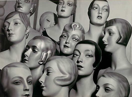 12 Female Mannequin Heads, Each with Distinct Physiognomy and Period Hair Style by Peter Weller, c. 1930Also