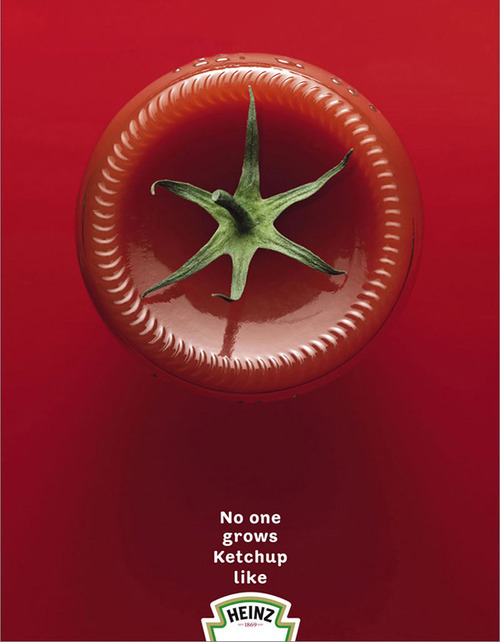 "innovativeads:  Heinz: Tomato ""no one grows ketchup like Heinz."" by McCann Erickson via BoredPanda"