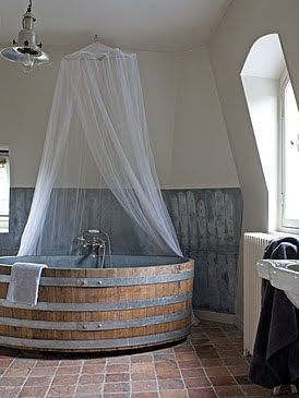ayra:  Wine barrel bathtub