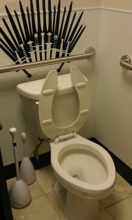 bemusedlybespectacled:  pacobaggins:  This is the bathroom at work.  When you play the game of thrones, you flush or you die.