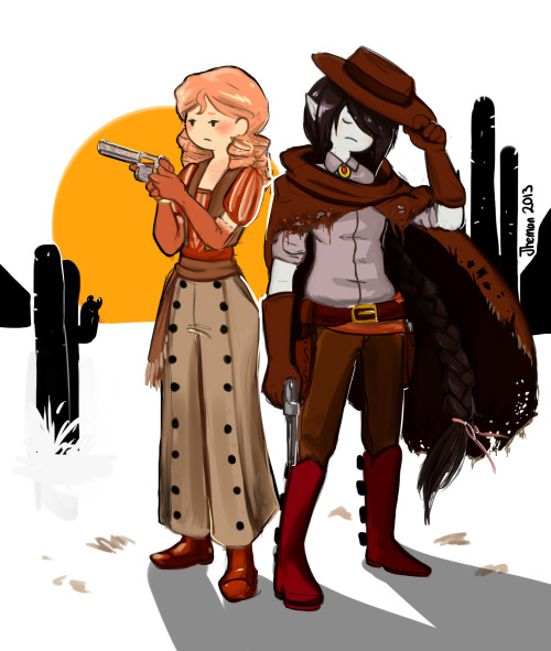 e-jheman:   Bubbline western AUTaking some inspiration of my favorite game ever: Fallout New Vegas. Credits for Amy (sharpasakunaike) and his magnific idea.  OK,I'm so done. Amy,dude,this is for you :U! <3 I want dedicate this draw to my girlfriend,my mug of coffee,Tasha,my dog and of course,Amy :X  (??????) The bubbline tag is soooo dead,so i'm working so hard  for you guys. I love this fandom. Enjoy   -dies- Check the details omg  ohmygOD FKLJD;SAFSKLFD