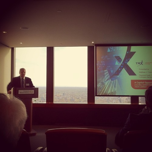 John Lawson (of @BritishQuebec) at the TMX Group event (at Fasken Martineau)