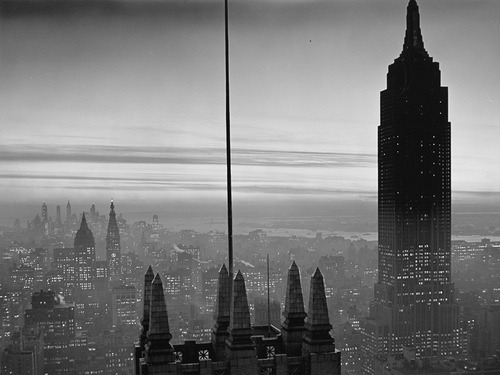 firsttimeuser:  Midtown Manhattan & Empire State building at Dusk, 1930s photo by Samuel H. Gottscho