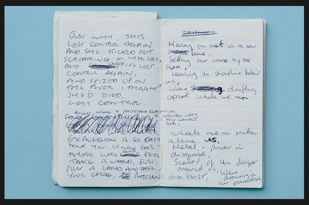 "wolfchief:  Curtis' lyric book, including lines to songs ""Disorder"" and ""Glass"" Ian Curtis, 7/15/56 - 5/18/80"
