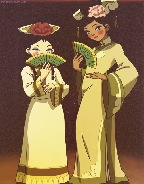 "A:TLA 30-Day Challenge  Day 3 → Favorite Outfit: Toph + Katara's dresses. ""Wow, you look beautiful.""  ((I had the biggest crush on Katara when I was 10. This picture gives back feels that I haven't felt for a while.))"