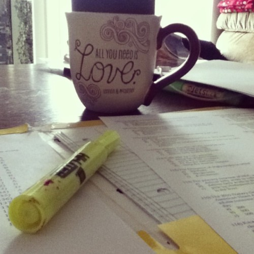 Early morning coffee & studying. Finals are here. #finalsweek
