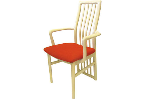Early 1980s Danish Modern armchair with high-quality cream lacquer finish and original orange-red upholstery. Original tag from Schou Andersen Mobelfabrik, made in Denmark, on the underside.