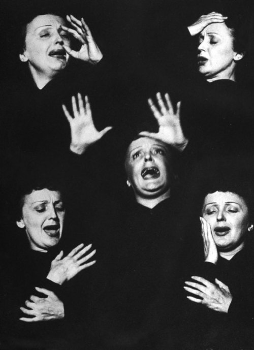 Edith Piaf mid-performance at New York's Versailles nightclub, 1952. Photo by Allan Grant for Life magazine.