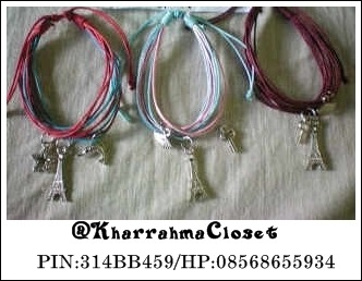 #PARIS BRACELET# Price : only 35.000 FIXED PRICE (shipping charge is not included) Interested? Text me :08568655934. PIN:314BB459. @KharrahmaCloset *Can choose the color as desired *For further information contact us *Goods that have been purchased or have been sent will not be refunded, we will examine the goods before shipping I'm from Indonesia