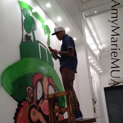 lovingcbreezy:  Chris at Art Mobb's gallery yesterday.