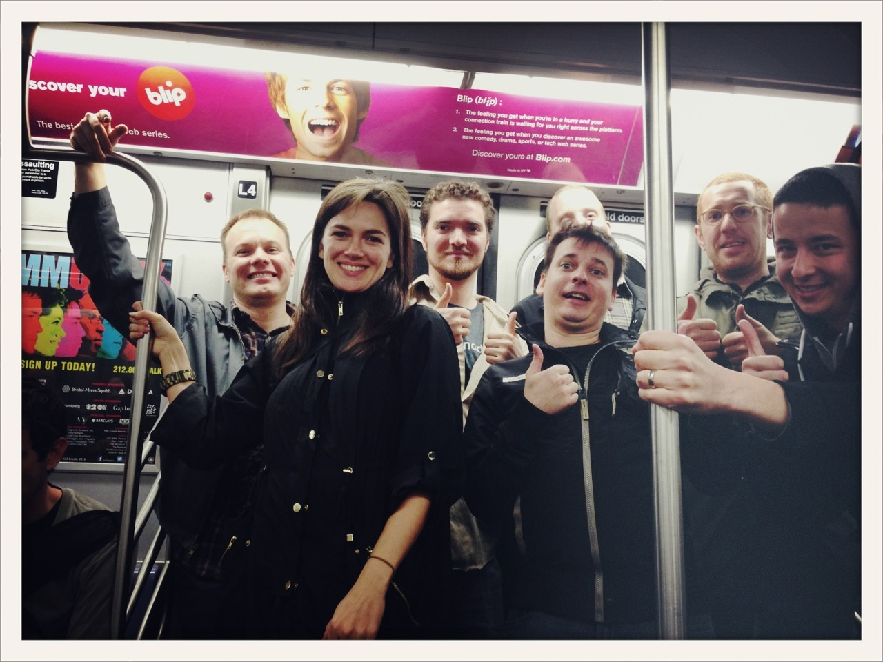 jefforulez:  .@blip flash mob on the N train  Hey, who let the developers out?