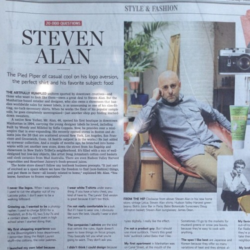 Love this: My fave person @lapresmidi interviewed my fave designer @stevenalan for today's WSJ!