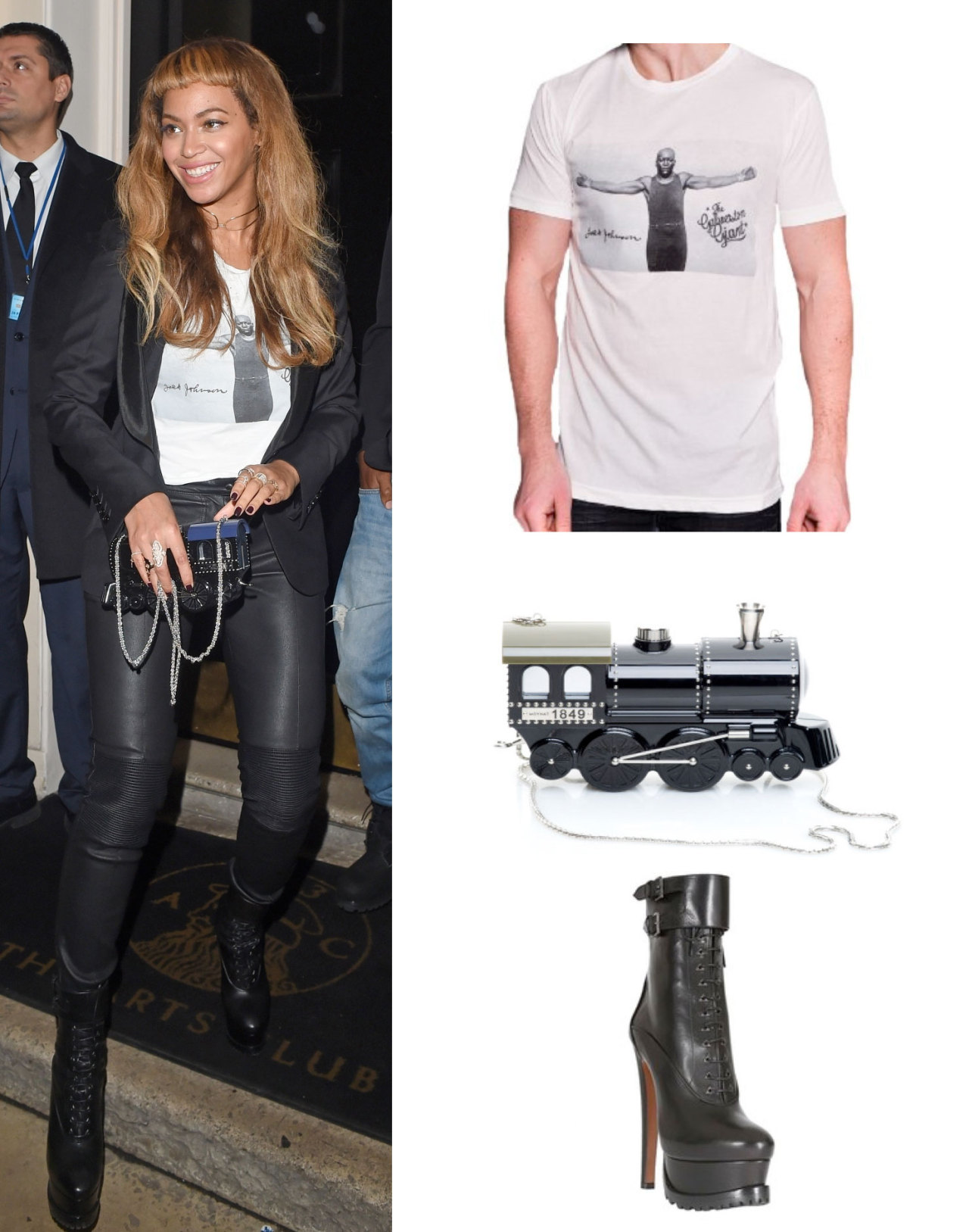 Beyoncé was wearing Roots of Fight Jack Johnson t-shirt, Moynat Paris x Pharrell Williams train clutch and Azzedine Alaïa leather lace-up boots