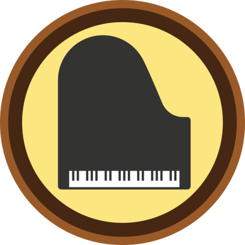 "lifescouts:  Lifescouts: Piano Badge If you have this badge, reblog it and share your story! Look through the notes to read other people's stories. Click here to buy this badge physically (ships worldwide). Lifescouts is a badge-collecting community of people who share their real-world experiences.  I started out wanting to play guitar. My parents took me to a local music school and they recommended I start with piano since my hands were too small (age 5) and I could learn the fundamentals of music nicely on the piano. I played piano for 7 years. I quit because I was tired of it and ready to return to my first love: guitar. I took guitar lessons for a year and quit. Every now and then I find a song that I want to learn on the piano and work on it.  Currently I'm occasionally working on a ""I Can't Make You Love Me"" cover by Bon Iver."