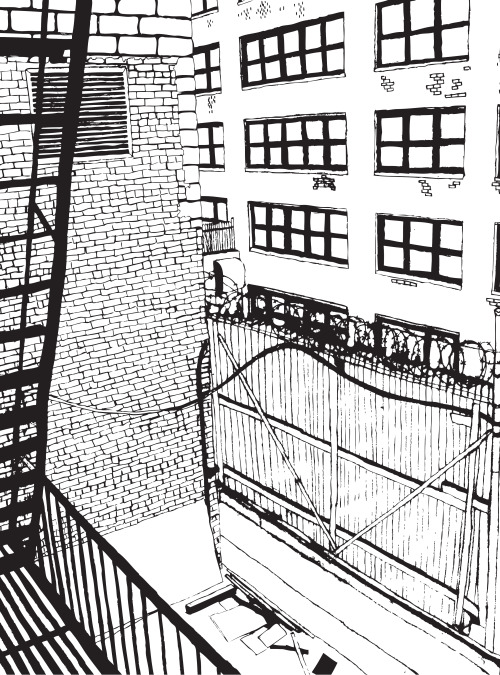 Drawing from a series I'm doing of rubbish views from hotel windows. This is the back alley visible from the window of New York's Ceton Hotel.