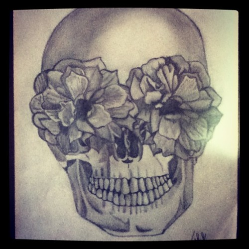 #skull #flowers #sketch #drawing #pencil #art #instaart #mexico