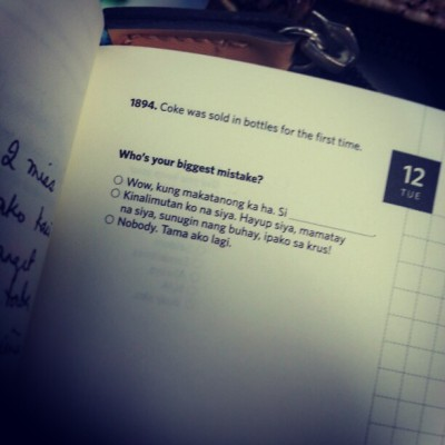 What my journal asks today. #wittywillsavetheworld #witty #planner #journal #writing #march #2013 #multiplechoice #pilipinas #pinas #pinoy #philippines