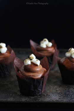all-things-bright-and-beyootiful:  Chocolate Toasted Marshmallow Cupcakes