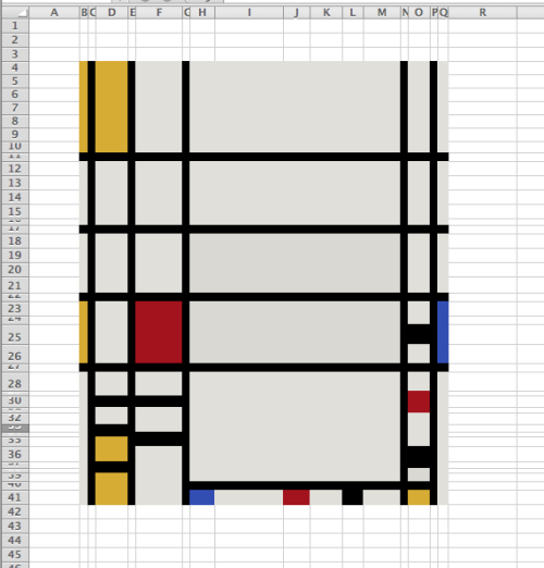 patrickt:  I recreated Piet Mondrian's Trafalgar Square in Excel. You can view the original here.   Best spreadsheet ever.