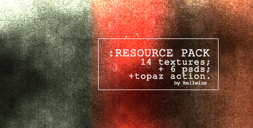 RESOURCE PACK by hellwins. Contains: 14 Textures; 6 psds; 1 Topaz Action. Please, like or reblog if you taken. I hope you guys like it!  (Download.)