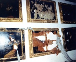 pictures in Florence's Varari Corridor, damaged by the bomb explosion set by Corleonesi mafia clan in via dei Georgofili, 1993