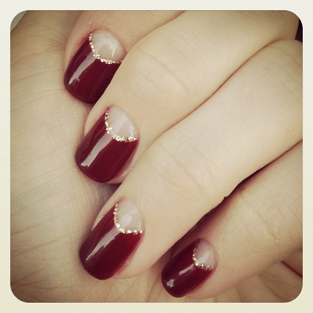 In lurve with my #oxblood #gel #reversefrench #mani from Sakura 💅💕👍 #moonmani #nailart #nails