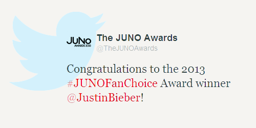Congrats to Justin and his Beliebers on this award!