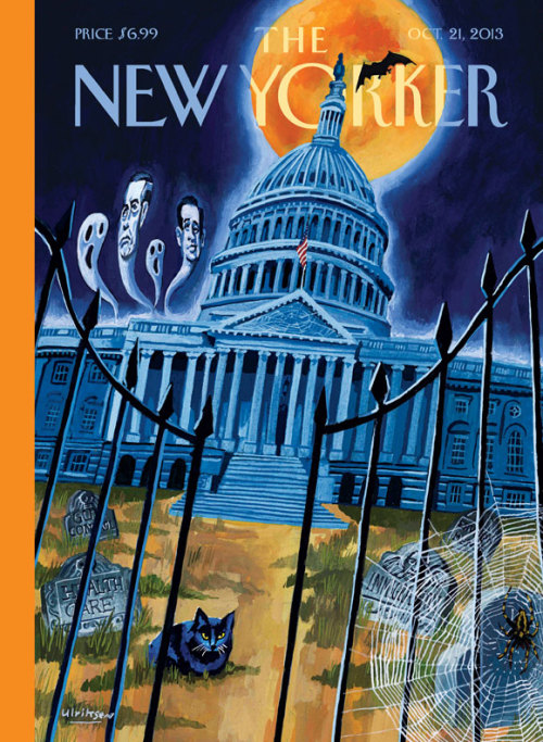 perzadook:  OCT. 21, 2013  Government shutdown spooks.If you look at the details of the cover here, there are tombstones that mark the theoretical political deaths of healthcare, gun control, immigration and something else. And to the top left, there are the lingering ghost powers of Boehner and Cruz.