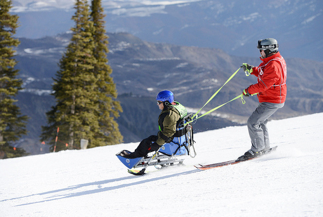 usagov:  Image description: The National Disabled Veterans Winter Sports Clinic is the worlds largest learn-to-ski, adaptive winter sports rehabilitative event for U.S. military service veterans. The clinic's purpose is to motivate veterans with traumatic brain injuries, spinal cord injuries, orthopedic amputations, visual impairments, certain neurological problems and other disabilities to live life to the fullest. The clinic, sponsored by the Department of Veterans Affairs and the Disabled American Veterans took place in Snowmass, Colo. from March 31 - April 5. Photo from the U.S. Department of Veterans Affairs