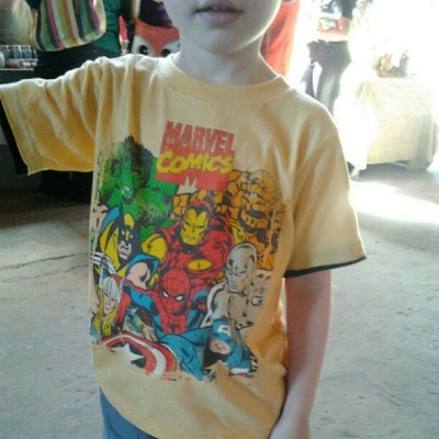 A little #RetroGent rocking a #marvel #comics #superhero #tshirt at #TheRevivalofVintage.  Http://ForRetroGents.com
