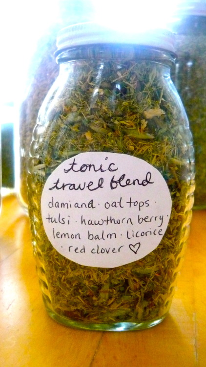 maantistaaste:  Some favorite herbs made it into a tea blend I put together for Alex now that he's living on the road; it's a sweet medley to uplift and promote vitality. Hawthorn is renowned for it's benefits to heart health; lemon balm calms but also relieves exhaustion & stress; licorice supports adrenal function & aids digestion; oats are great nerve and cardiac tonics & a rich source of magnesium; red clover is a blood builder & can improve skin; damiana lifts the spirit & inspires passion - it also promotes our ability to recall dreams; tulsi (AKA holy basil) helps us to resist stress & increases stamina and immune function. Divine.