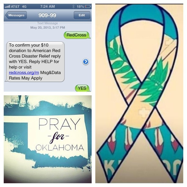 thedailylola:  Please #PrayForOklahoma and text RedCross to 90999 to donate $10. Do something small for those who lost it all. #OklahomaStrong #care #help #love #oklahoma #tornado #victims
