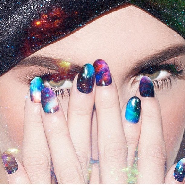 nailinghollywood:  #sneekpeek @stephstonenails new #galaxy #nailwraps campaign by @shopncla! #photo @karlaticas #makeup @leibi_carias #hair @noogiethai #styling @ariannacimone