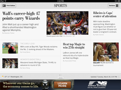 Washington Post blends online and print content with interactive iPad app (via Mobile Marketer)